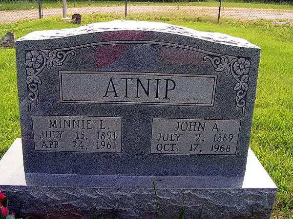 John Alexander Atnip's Tombstone