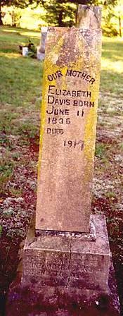 Grave of Elizabeth (Griffith) - wife of Reuben P. Davis