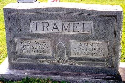 Graves of Annie (Davis) and husband, Winket Alexander Tramel - d/o Thomas Jasper Davis and Tennie Robinson