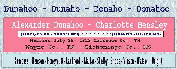 Dunahoo Ancestor Banner