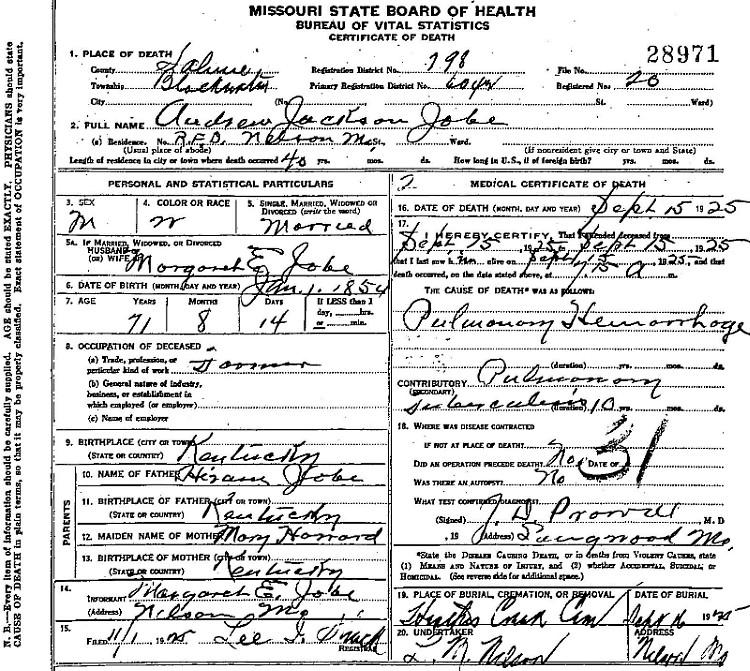 Andrew Jackson Jobe Death Certificate