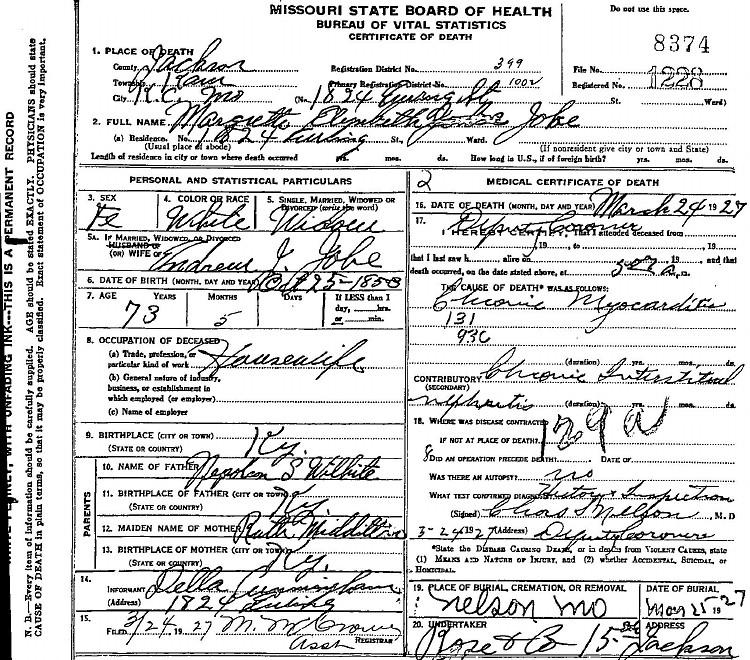 Margaret (Wilhite) Jobe Death Certificate