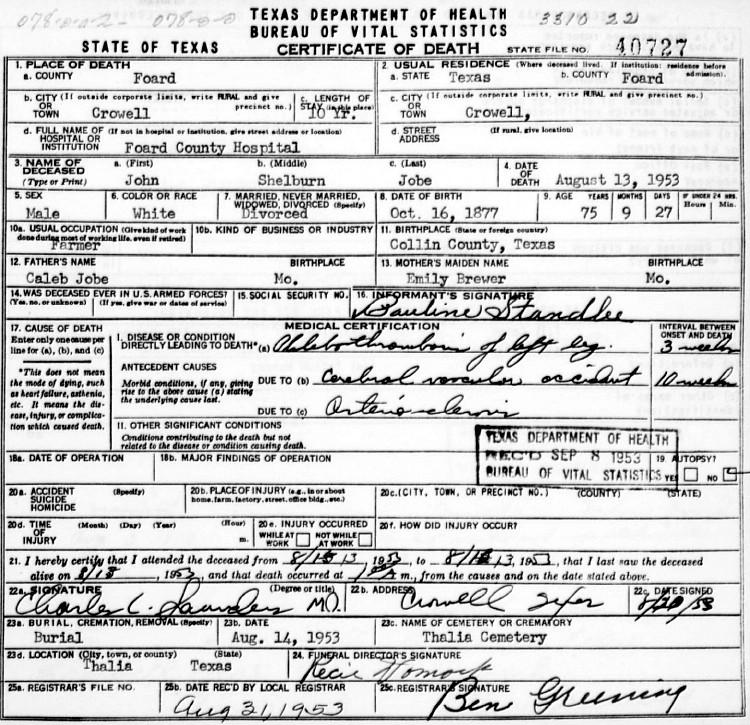 John's Death Certificate