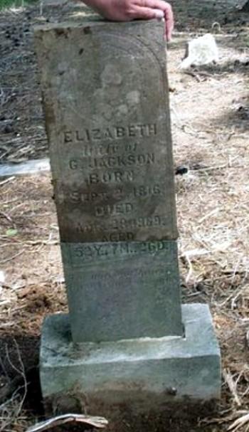 Elizabeth (Hale) Jackson Tombstone