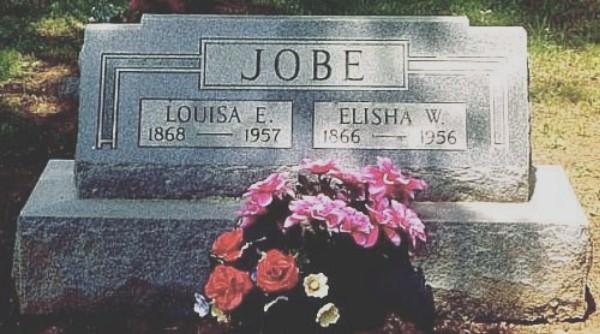 Elisha W. and Louisa (Lawson) Jobe's Tombstone