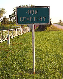 Orr Cemetery Sign