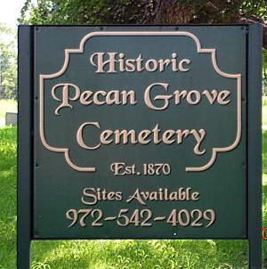 Pecan Grove Cemetery Sign