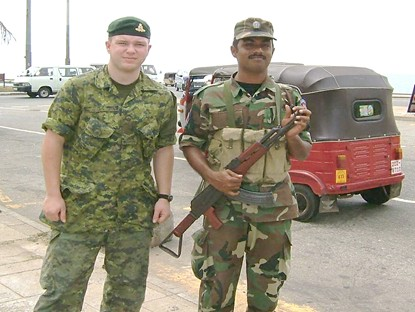 Philip with Sri Lanka guard at checkpoint