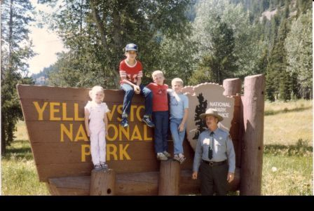 Tim and kids in Yellowstone