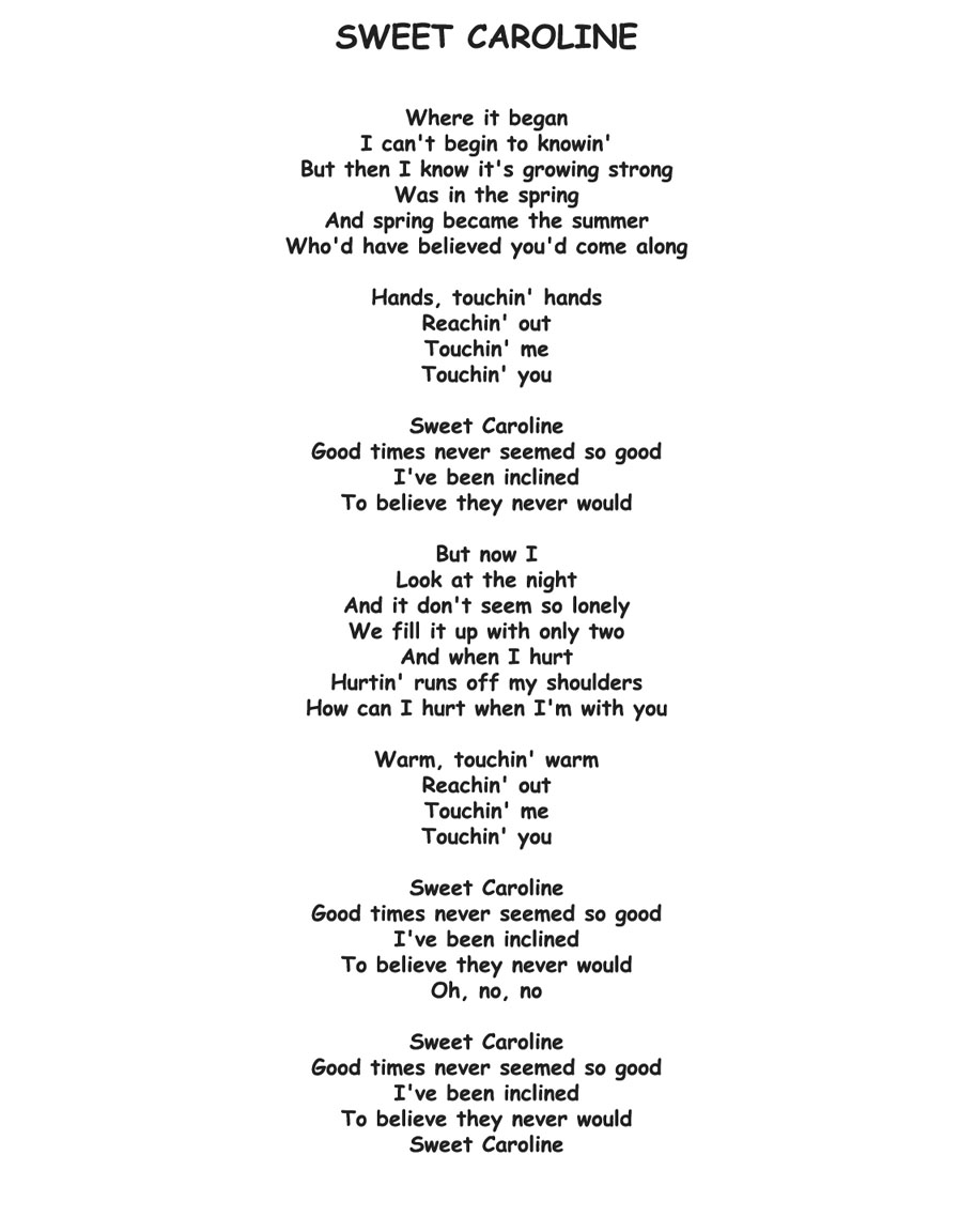 SWEET CAROLINE Lyrics