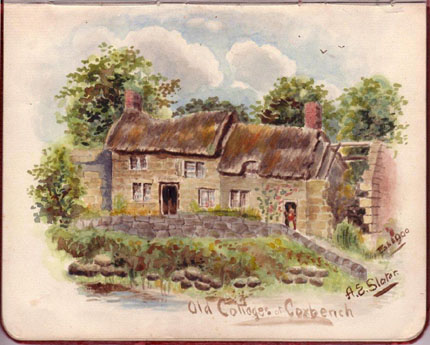 Old Cottages, Coxbench, by A.E. Slater, Feb. 1900 - Courtesy of Nigel Aspdin