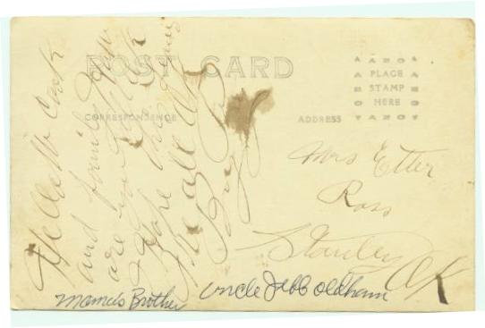 Backside of postalcard