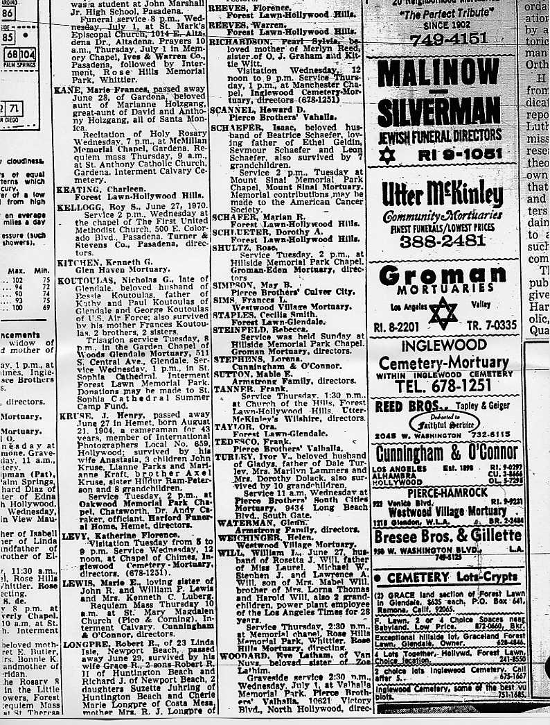 Obituaries from Los Angeles, CA 6-30-1970