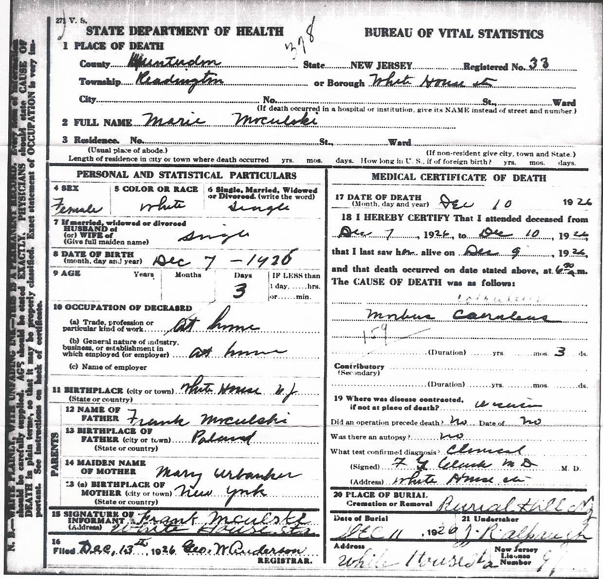 Miscellaneous new jersey obituaries birth certificate death certificate aiddatafo Images