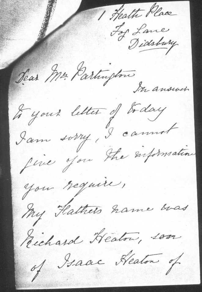 Letter from Emily Heaton to John Heaton Partington 1905