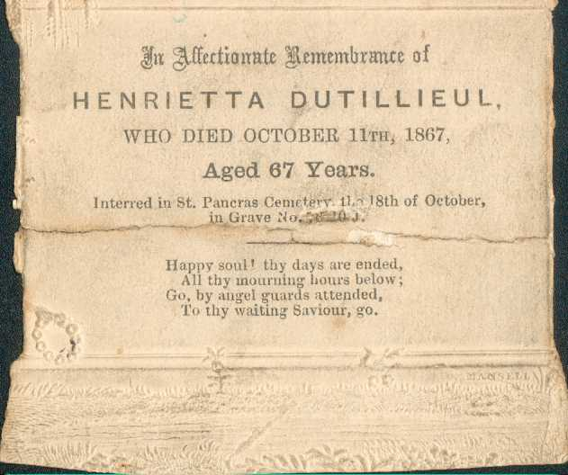 Henrietta Dutillieul's (formerly Brooksbank)Memorial Card 1867