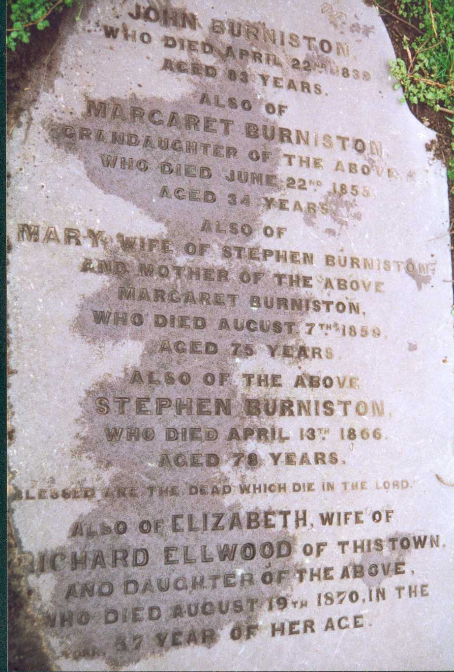Picture of Burniston Headstone in Knaresborough Churchyard