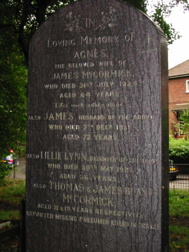 McCormick grave Prestwich