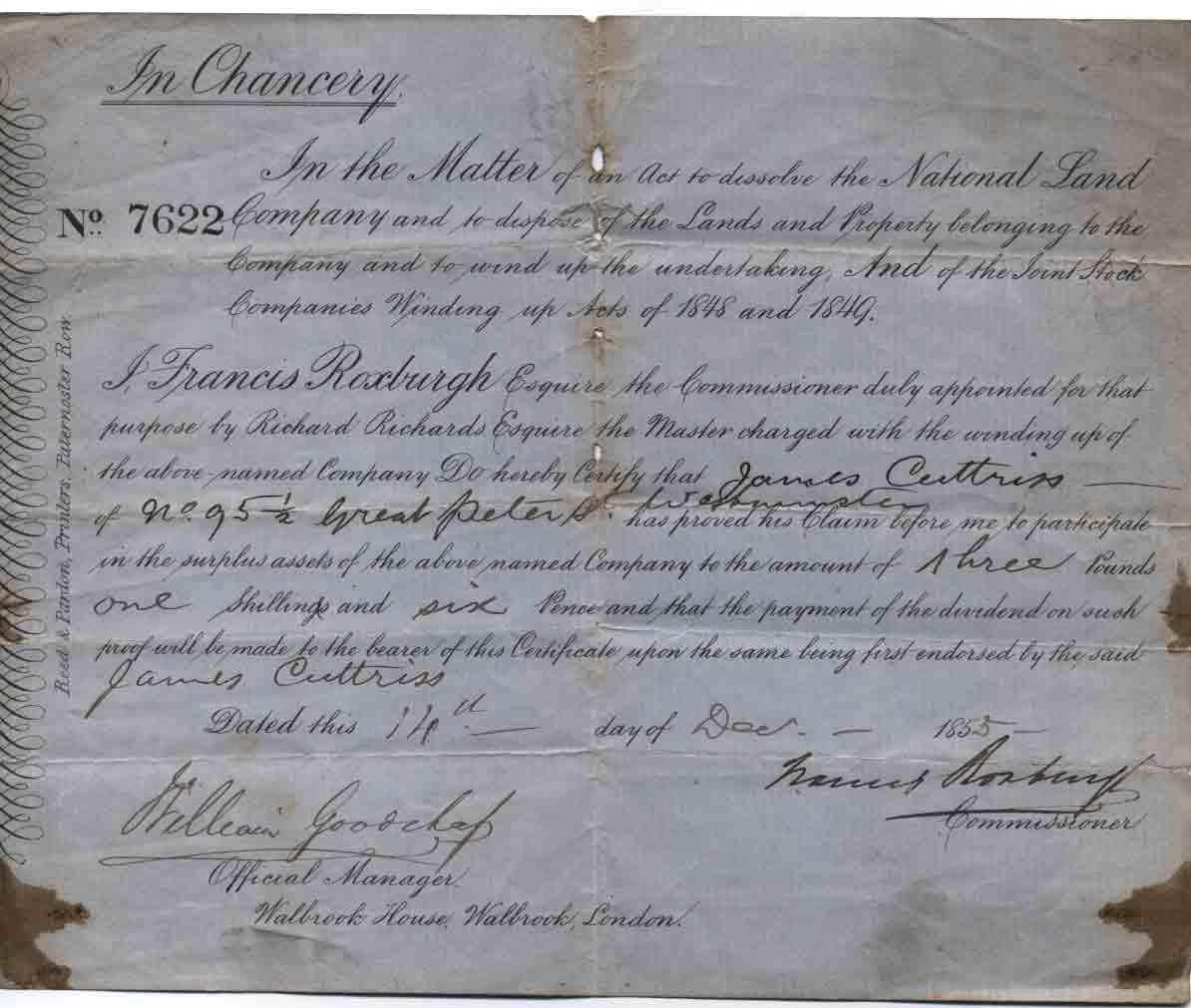 National Land Company 1855