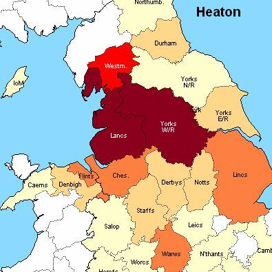 Heaton Surname Distribution main population centre per 100,000 people in England in the 1881 Census (Source : Surname Atlas - Archer Software)