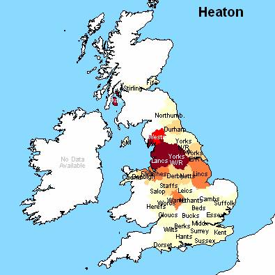 Heaton Surname Distribution England, Scotland, and Wales in the 1881 Census (Source : Surname Atlas - Archer Software)