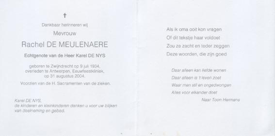Bidprentjefuneral Card Rachel De Meulenaere Funeral Card