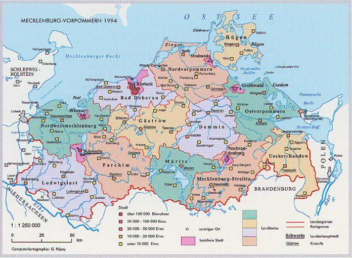 Landkreis Map Of Mecklenburg Vorpommern 1994