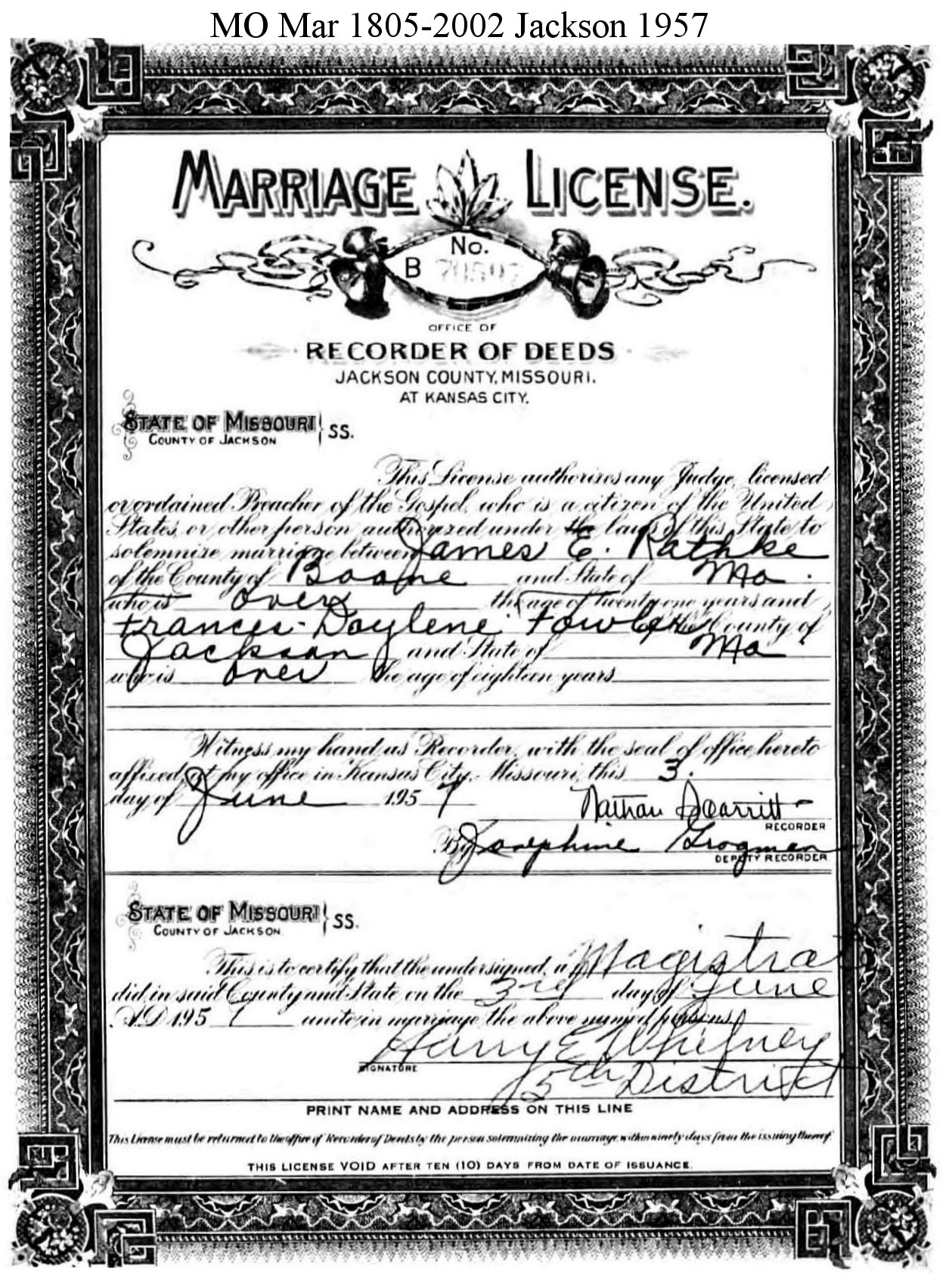 Marriage Licenses Applications Registers