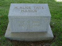 [ Grave of Mary Alice Tate Hanks ]