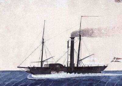 Dette er et billede af det første damppostskib over Storebælt