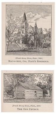 Top: Mac-ochee, Col. Piatt's Residence.  Bottom: The Old Church.