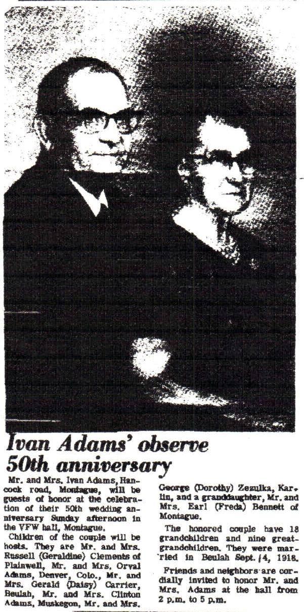 Ivan and Lela (Somsel ) Adams