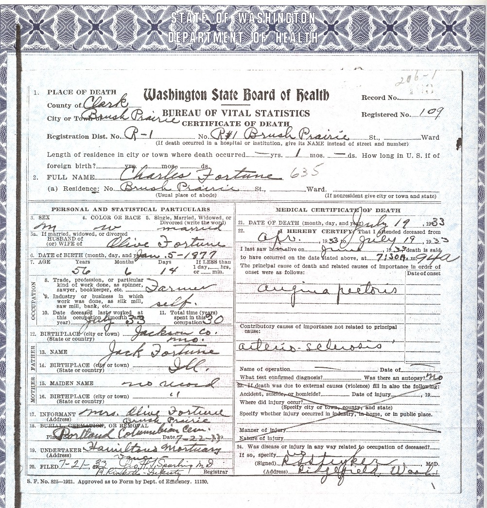 Fortune Family Documents