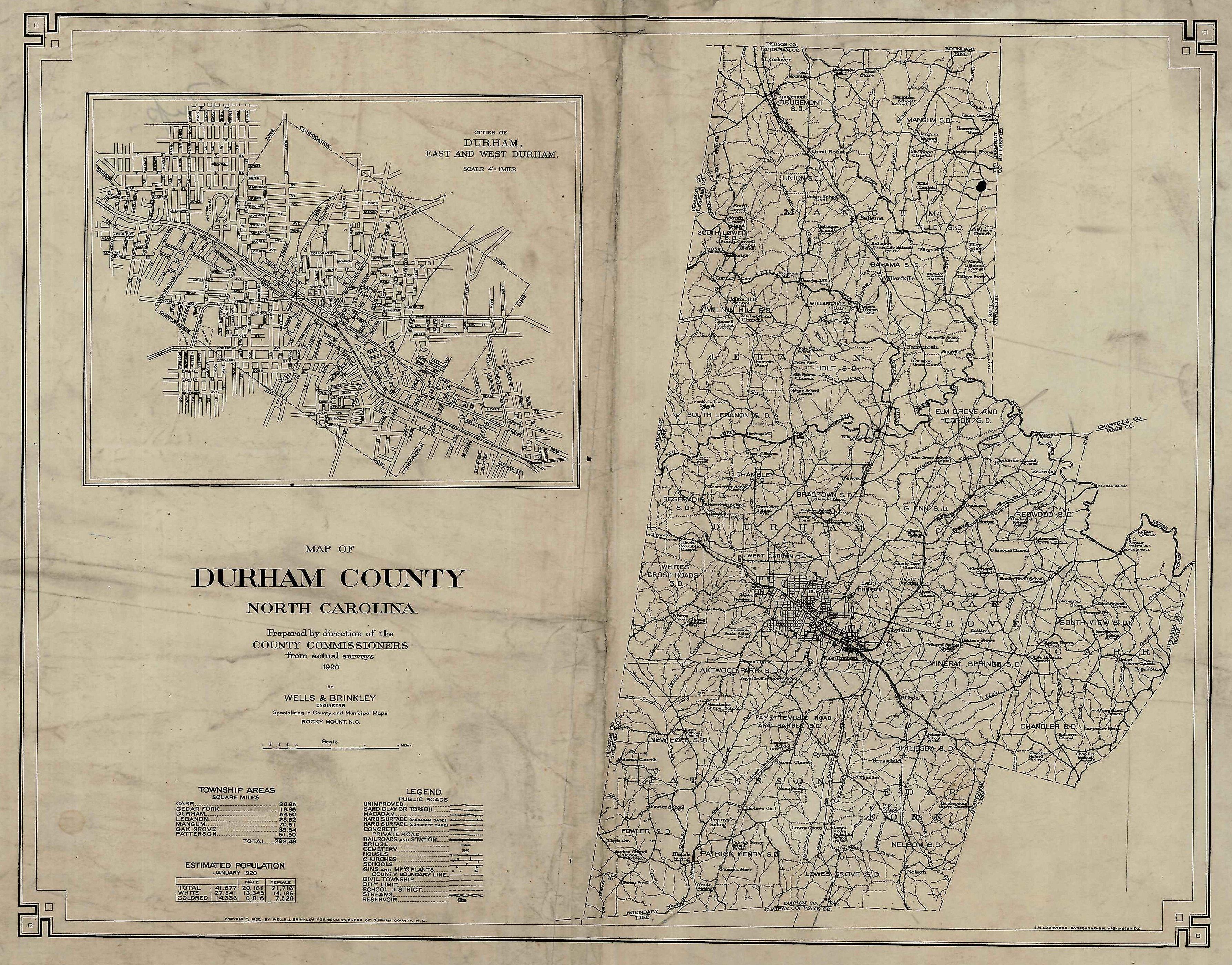 1910 Map of Durham County North Carolina