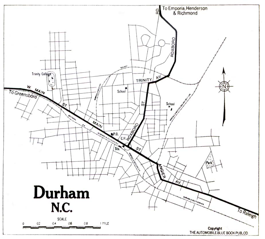 Historic Durham County And City Maps - Maps of north carolina cities