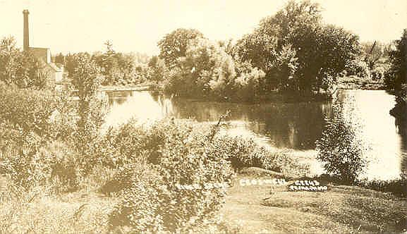 River Scene Croswell, Michigan with Michigan Sugar Factory in the background left