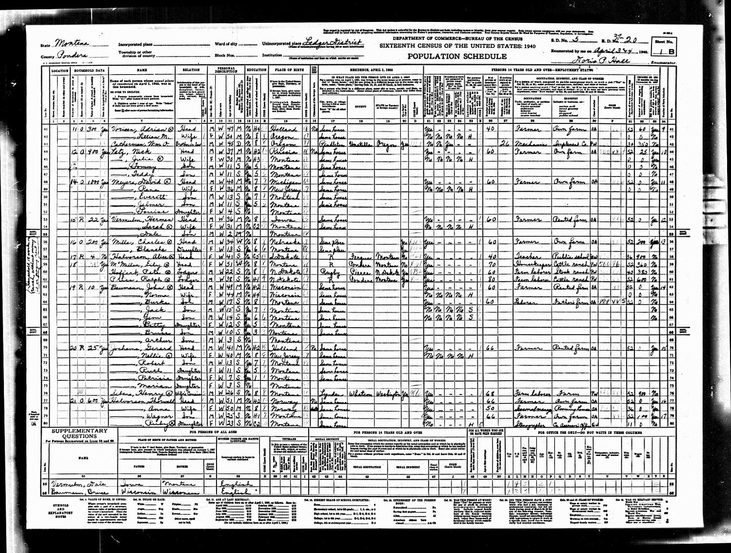 Montana pondera county ledger -  Norma Baumann 1940 Census Ledger Pondera County Montana