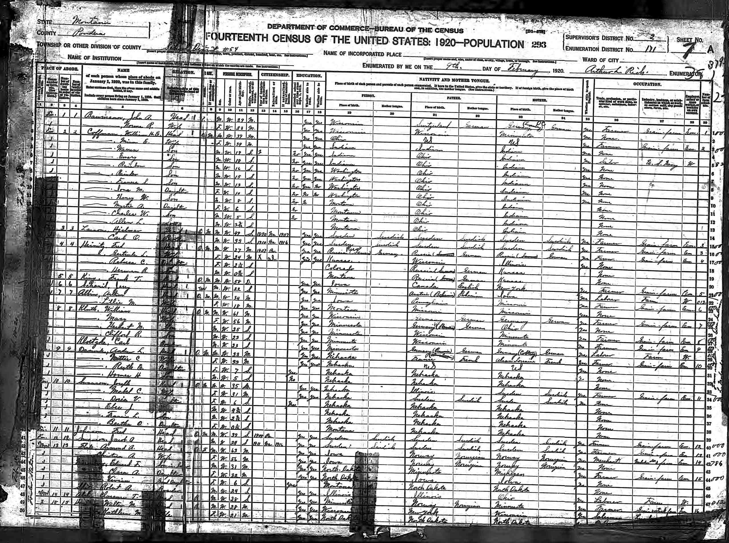 Montana pondera county ledger - Norma Baumann 1920 Census District 54 Pondera County Montana