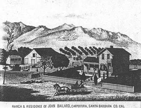 Ranch & Residence of John Bailard, Carpenteria, Santa Barbara Co., Cal.