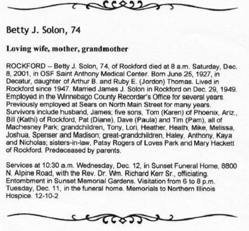 Illinois SOLON Obituaries