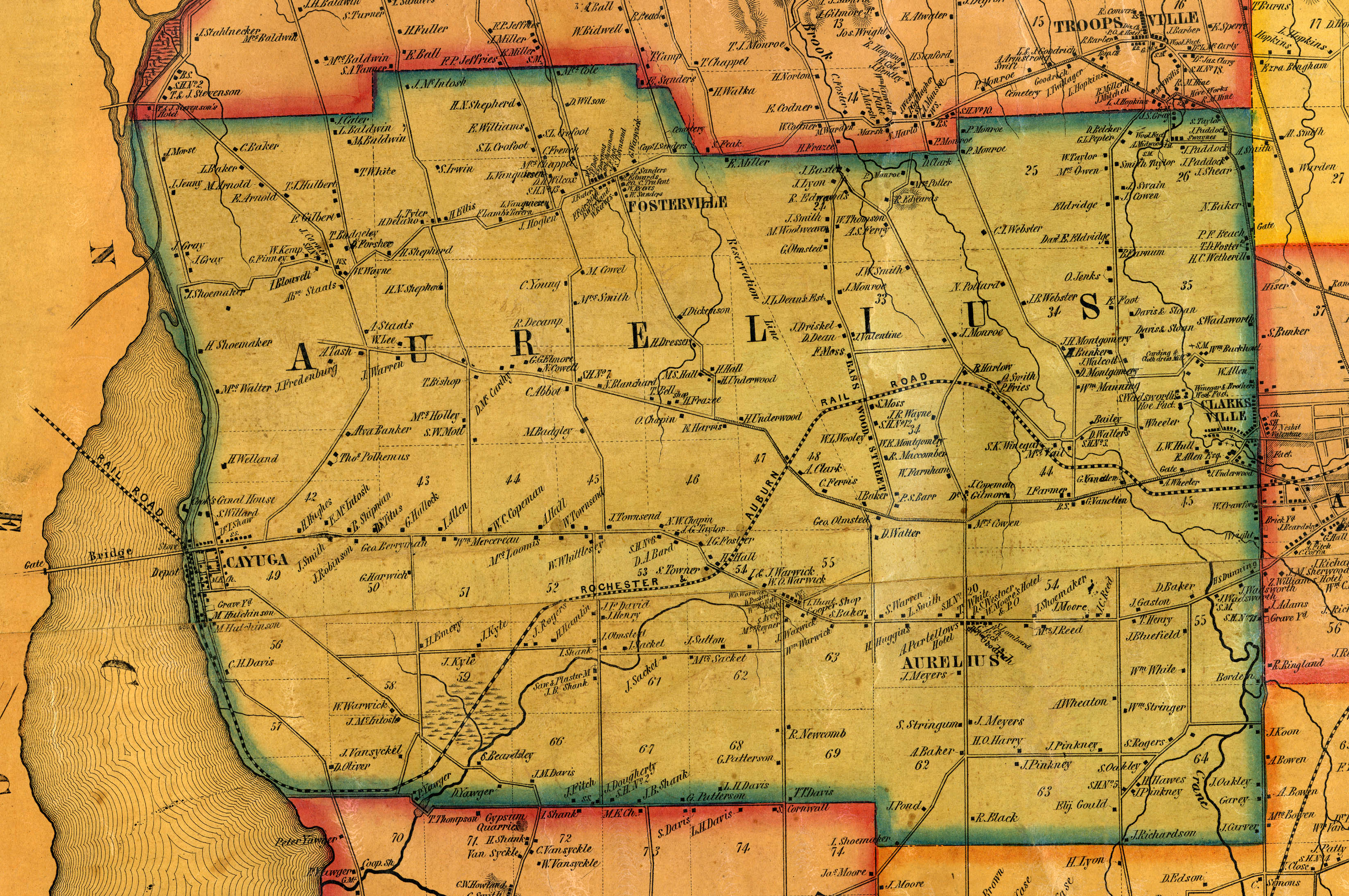 1853 Cayuga County, NY Mapaurelius town