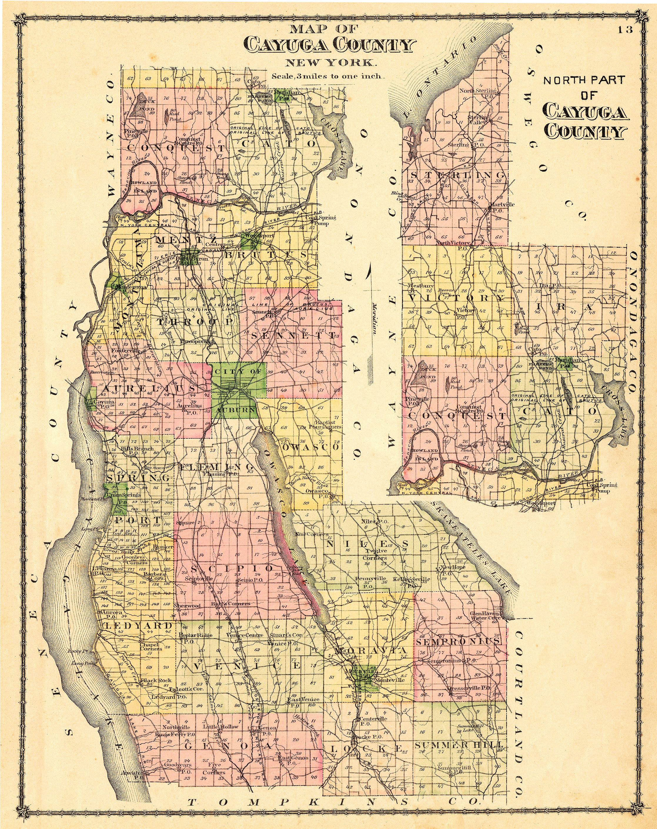 New york cayuga county - 1875 Cayuga County Map