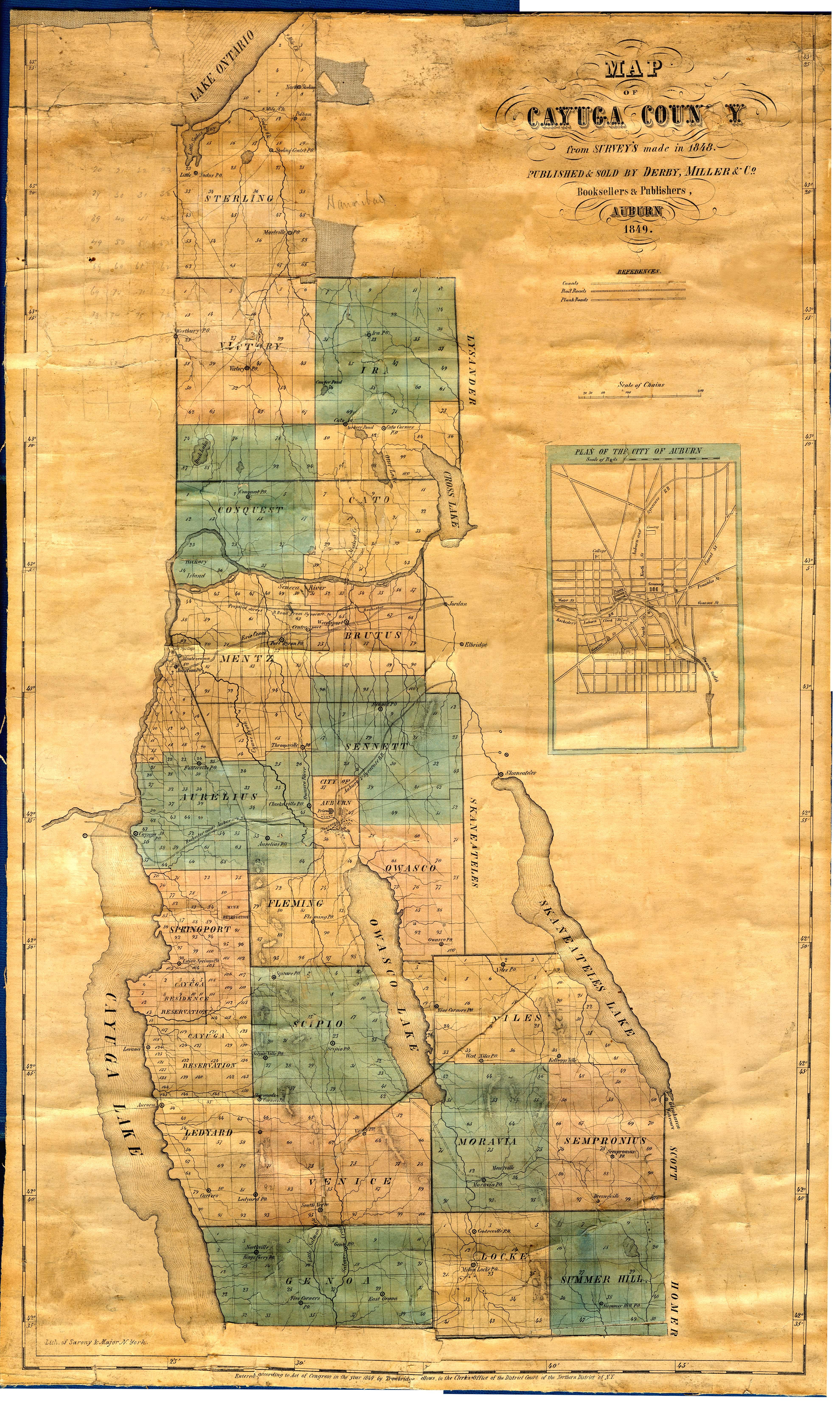 New york cayuga county - 1849 Map Of Cayuga County