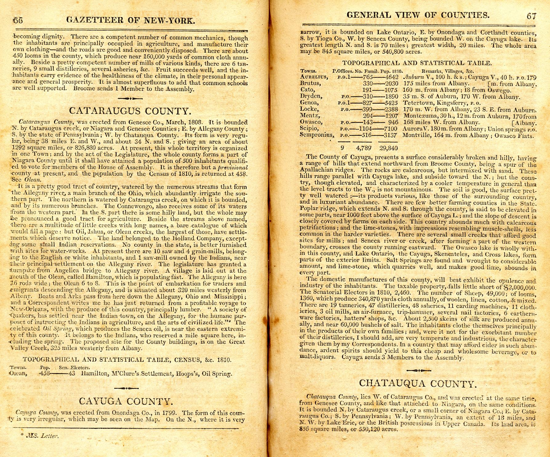 New york cayuga county - 1813 Gazetteer Of New York Page 66 67 Cayuga County Info