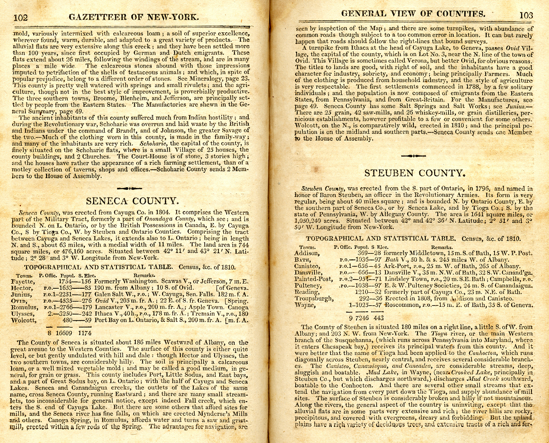 New york cayuga county -  1813 Gazetteer Of New York Page 102 103 Seneca Co Info