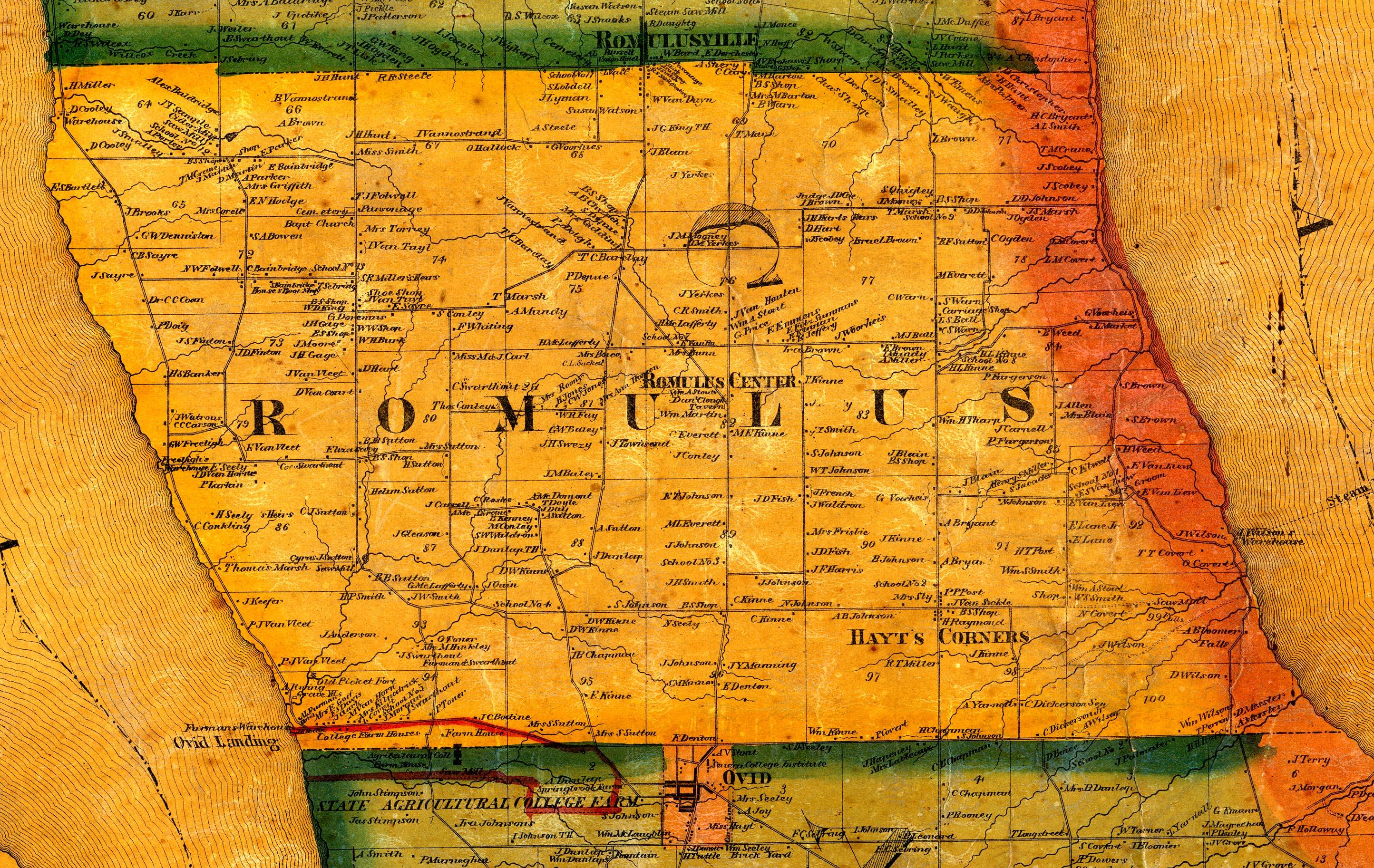 1859 Cayuga/Seneca County, NY Mapromulus town