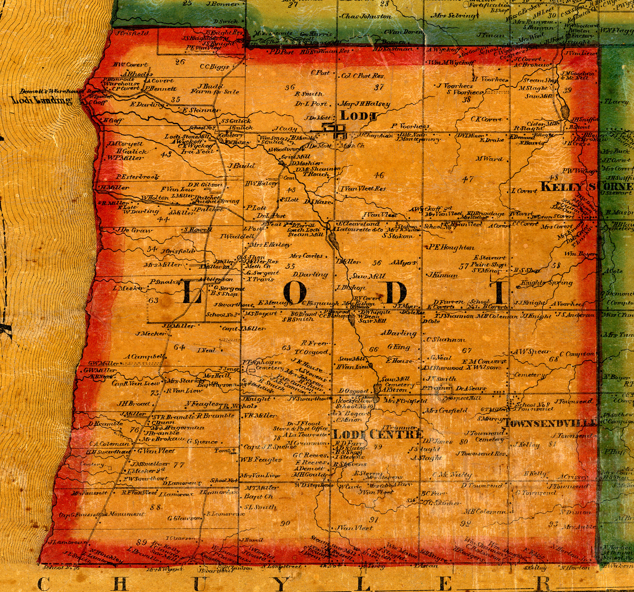 1859 Cayuga/Seneca County, NY Mapjunius town