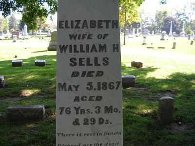 Elizabeth (Ebey) Sells Tombstone