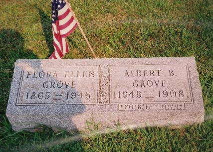 Flora Ellen (Ashbaugh) & Albert Grove tombstone