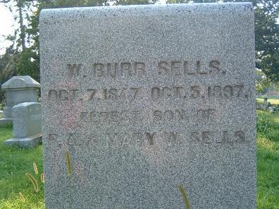 William Burr Sells tombstone